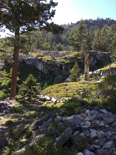 Starting up the switchbacks toward Gilmore Lake; this section of the trail is very rocky.