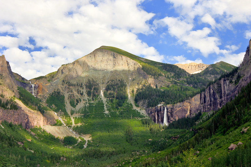 The waterfalls seen from Telluride.
