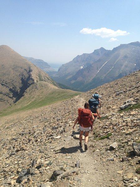 Descending the scree fields on Dawson Pass.