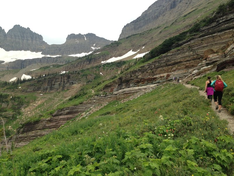Climbing steadily up the Grinnell Glacier Trail.
