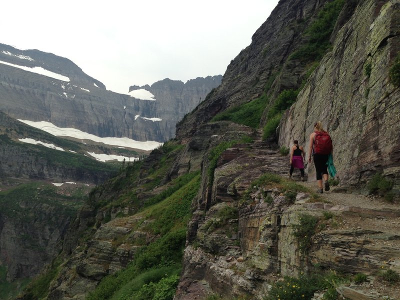 Bedrock bench cut along the Grinnell Glacier Trail.