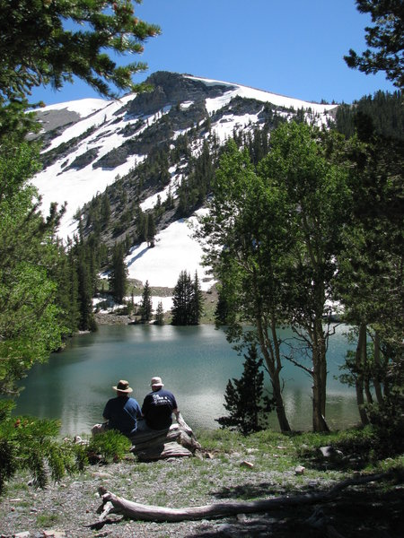 No better place to take a lunch break; on the shore of Stella Lake, under the summit of Wheeler Peak.