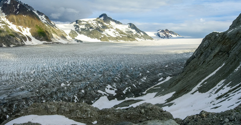 Panorama of the Brady Ice Field above Reid Glacier, Glacier Bay National Park, Alaska.