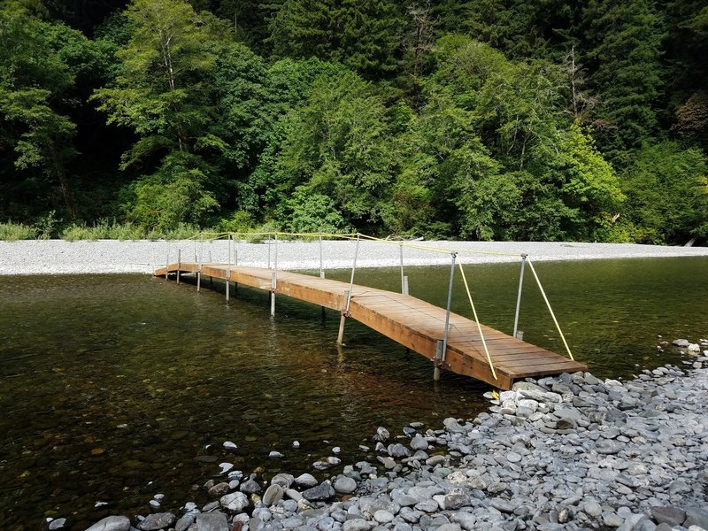 One of two seasonal bridges placed by the hardworking trail crew at Redwood National Park. It's a great alternative!
