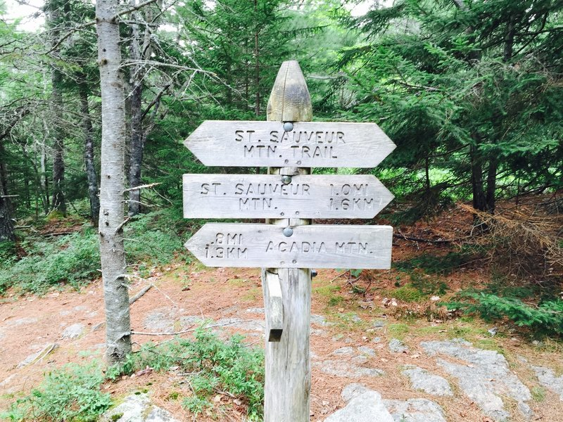 Acadia Mountain trail signage.