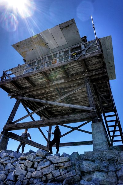 The fire lookout at the top of Granite Mountain - look for the box with the notebook to sign (or bring a new one to start)