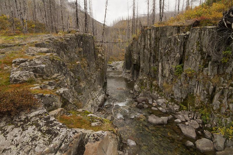 Mineral Creek where bridge used to be near patrol cabin site.