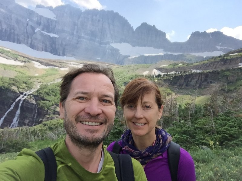 On the Grinnell Glacier trail, enjoying the views.