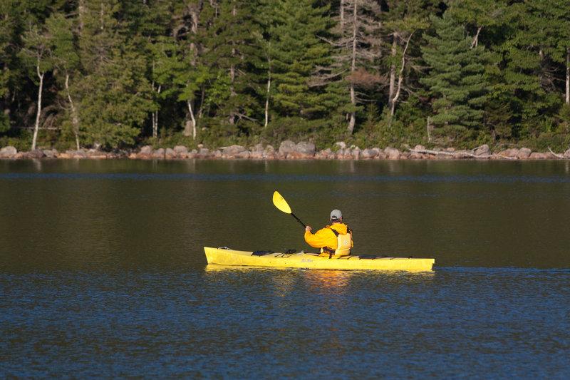 Kayaking on Jordan Pond.