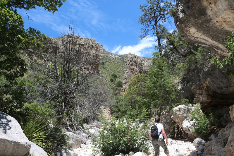 Hiking the wash following the cairns.