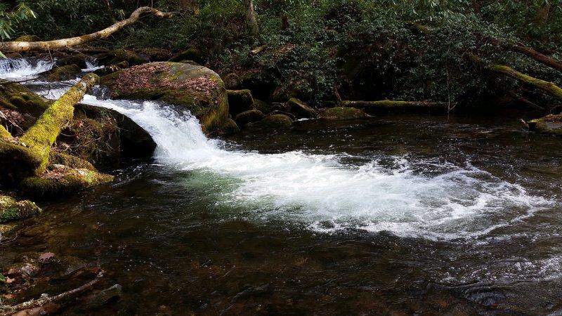 Beautiful view of Hazel Creek dumping into a large pool.