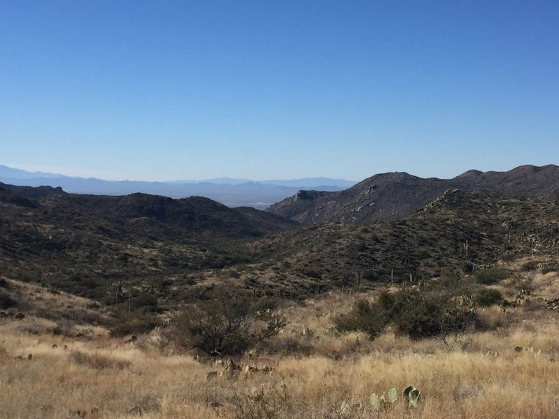 Looking down towards the Rtiz-Carlton and Dove Mountain trails from atop the Tortolitas.