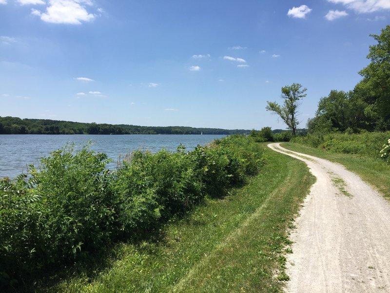Trail along the shore of Lake MacBride.
