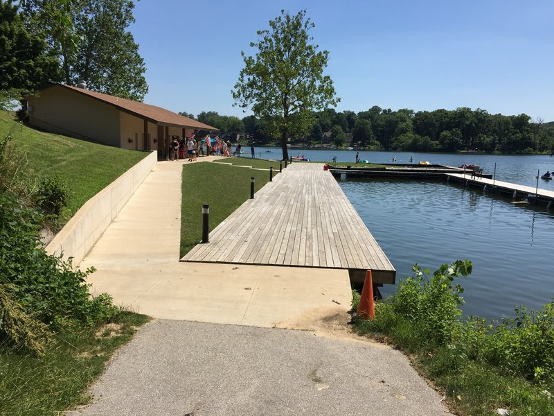 Lake MacBride beach concession area at the northeast end of the trail.
