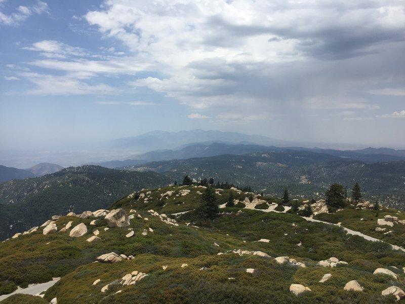 Looking across the San Bernardino Mts, at Mt. San Antonio (Baldy), in the San Gabriel Mts, from the Keller Peak Fire Lookout.