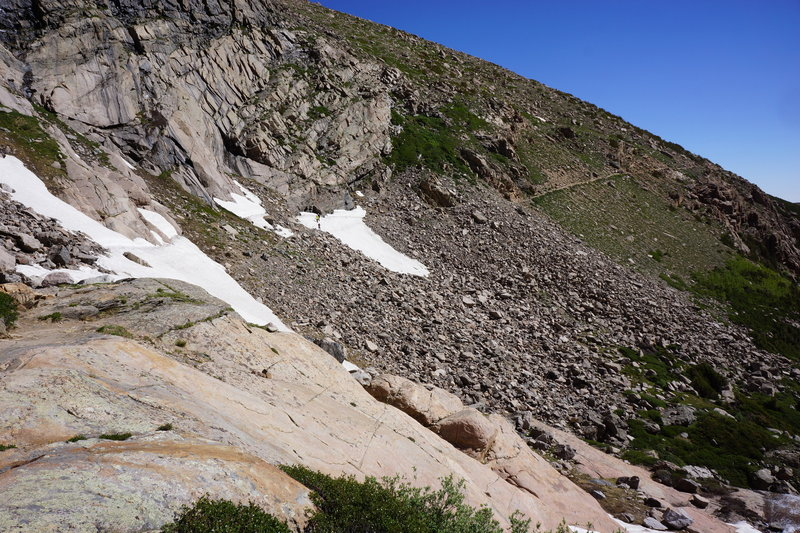 Approaching the falls area of the Chasm Lake trail in late June. The rangers say this snow typically is gone by July.