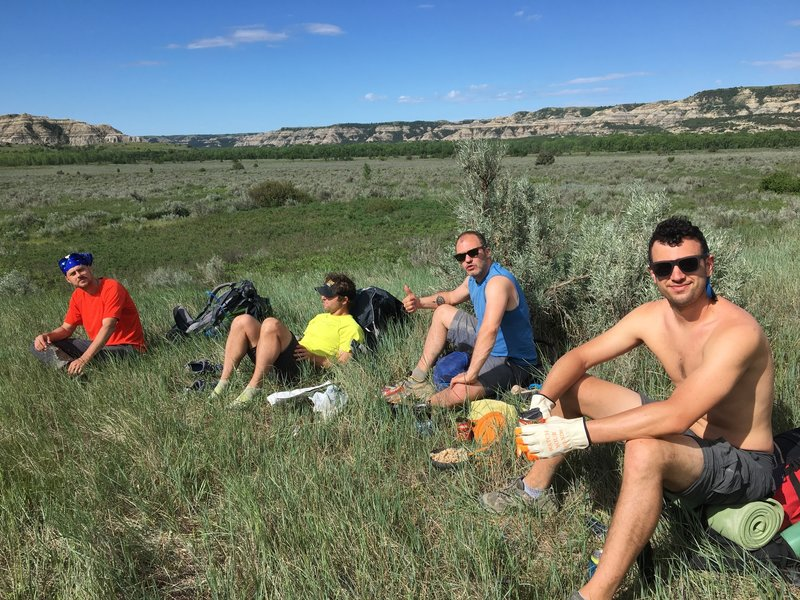 Snack break on Achenback Trail. We later meet the founder of this trail who said it was just an old buffalo trail.