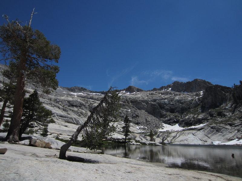 Gently sloping granite slabs around Pear Lake.