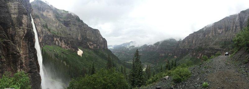 A panoramic shot of Bridal Veil Falls.