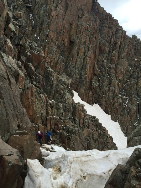 One of the tougher Class 3/4 sections on Sneffels' ridge.