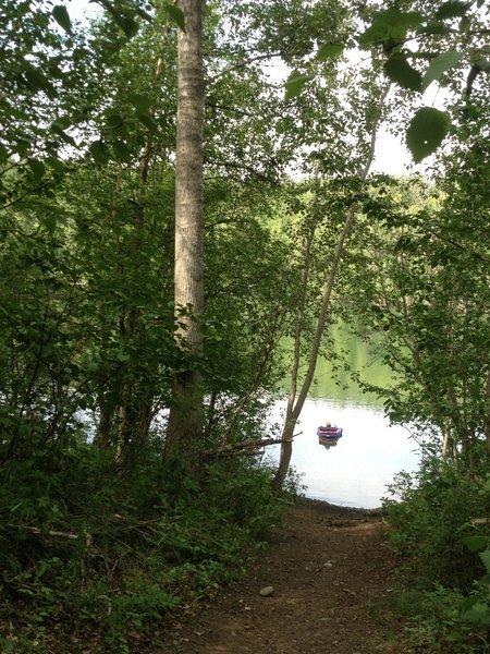 Fishing in Long Lake, just off the Long Lake Loop Trail.