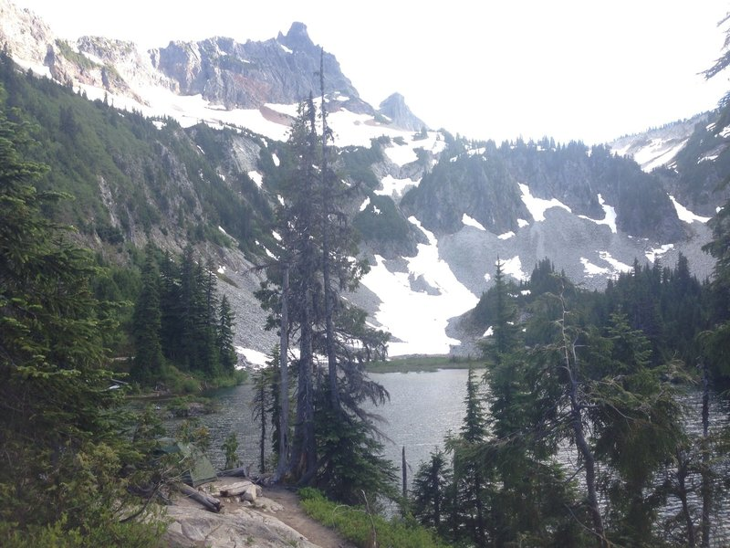 Tent site at Snow Lake Camp. Can you see the tent overlooking the water?