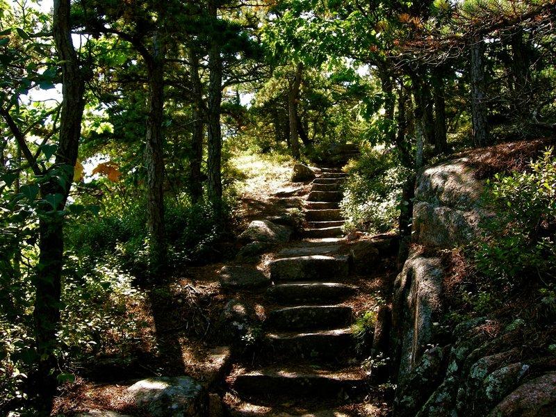 Hiking up the granite steps on the Dorr North Ridge Trail.