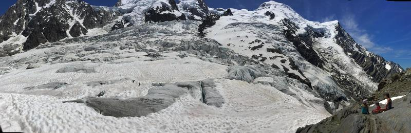 Right at the split of the Bossons and Taconnaz glaciers