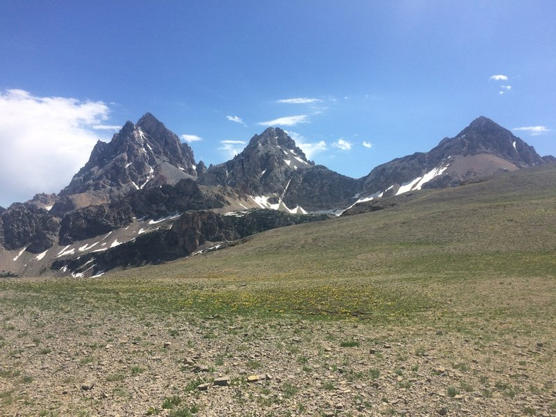 The Grand Teton, Middle Teton and the South Teton (from left to right) from the top of Hurricane Pass.