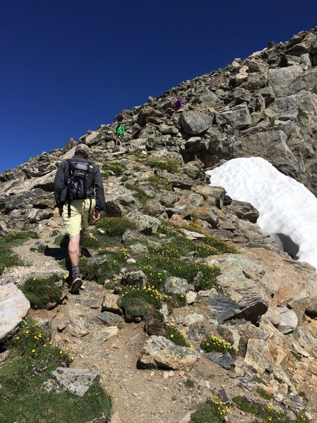 Heading up the peak.