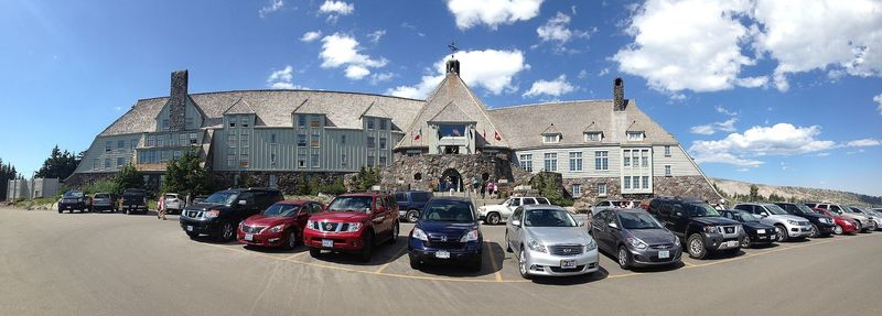 Parking area approaching Timberline Lodge