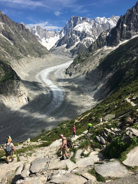 Heading down the Sentinel towards the Mer de Glace.