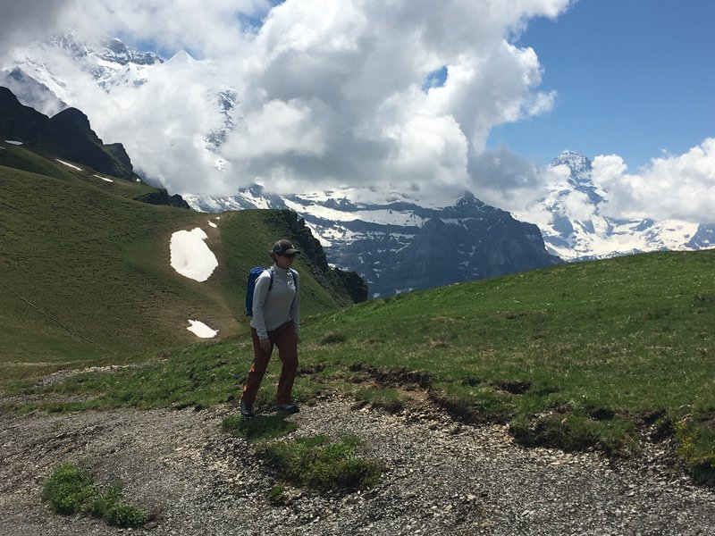 Hiking near the moody Jungfrau.