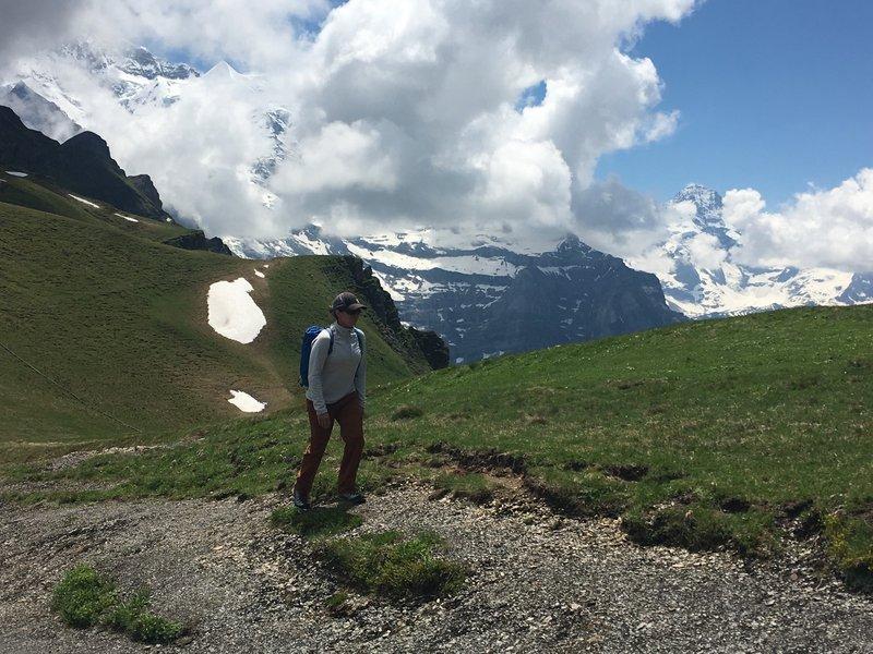 Hiking near the moody Jungfrau.