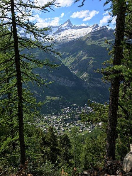 Zermatt far below.