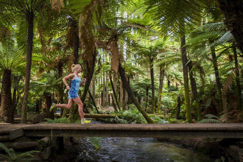 A runner crosses a bridge along Puarenga Stream.