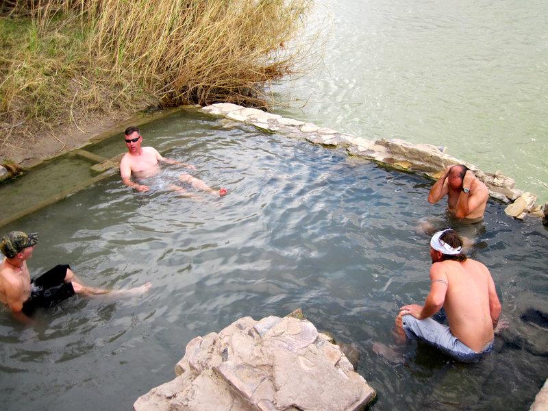 A group enjoys the canyon's namesake hot springs.