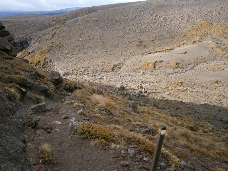 Descending on rough trail towards Waihohonu.