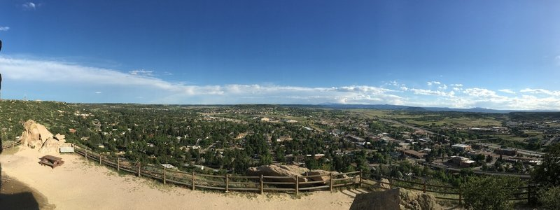 A panoramic view from the top of Castle Rock.