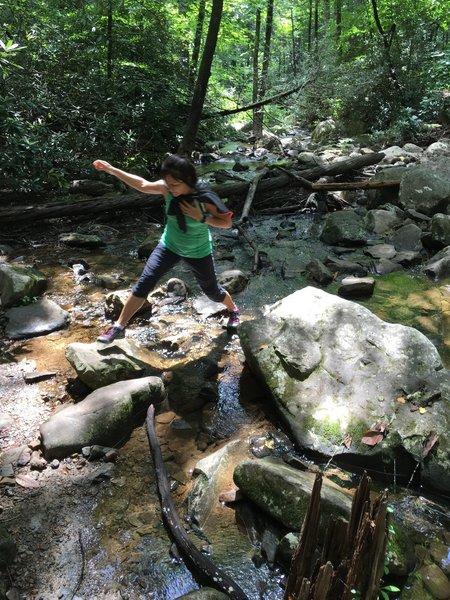 crossing the creek!