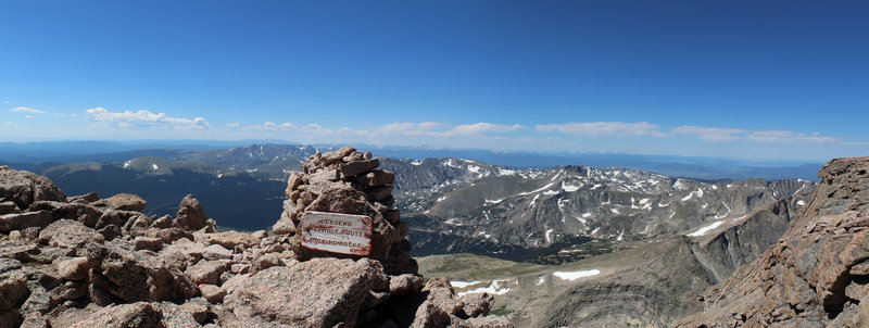 Descending from Longs Peak summit to The Narrows.