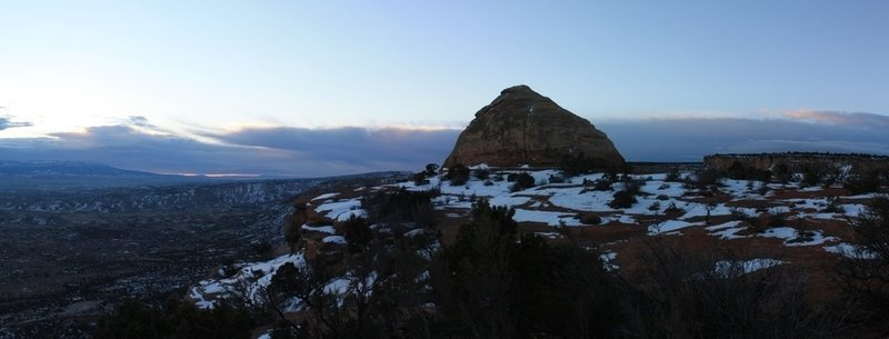 Panorama of Liberty Cap during a winter sunrise. with permission from Hobbes7714 Photo Credit: Andrew Wahr  Link: https://twitter.com/WahrAndrew