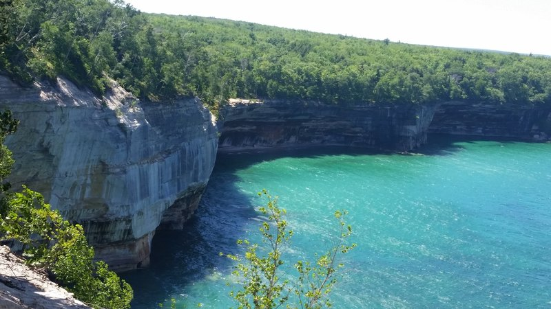 Pictured Rocks hang above pristine waters.