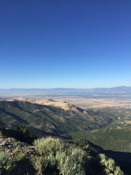 View from summit of Kennecott copper mine and Salt Lake City beyond.
