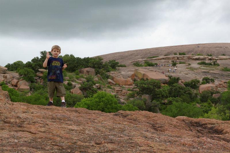 Gabriel climbing Enchanted Rock