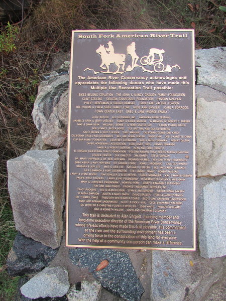 South Fork American River Trail dedication plaque.