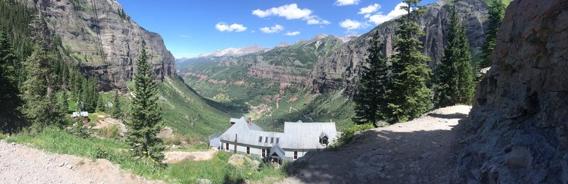 View of the Telluride Box canyon with the Power Plant above Bridal Veil Falls in the Foreground.