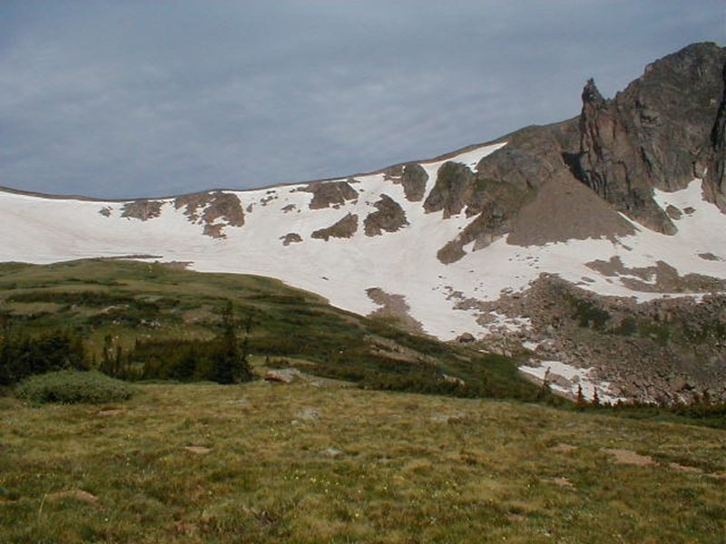 Had to do a nice climb over the cornice at Devils Thumb Pass on July 1st, 2006.