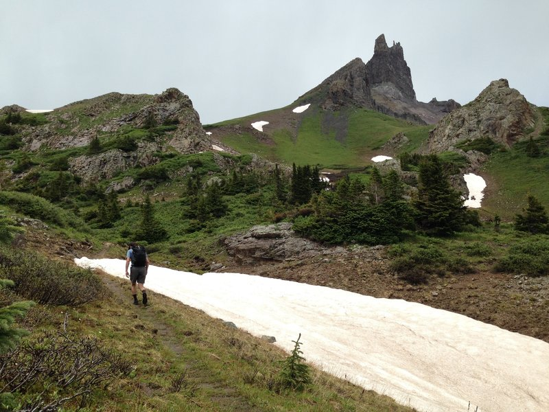 Beginning the ascent toward Lizard Head from the southwest and Black Face Ridge.