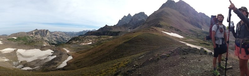 Atop Avalanche Divide, looking toward Schoolroom Glacier and the South and Middle Teton.